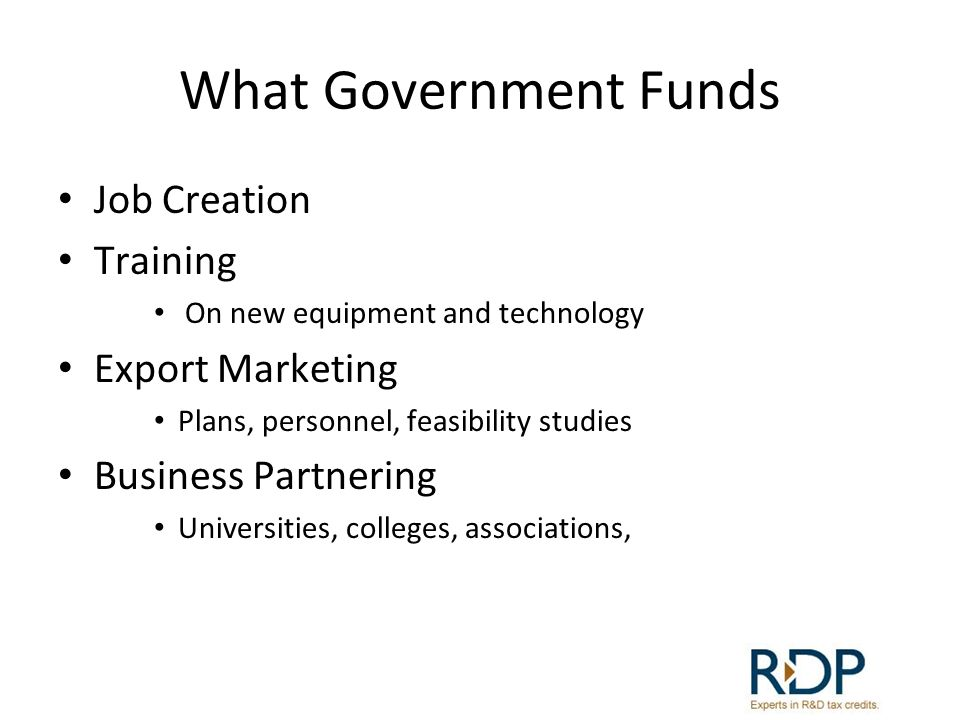 What Government Funds Job Creation Training Export Marketing