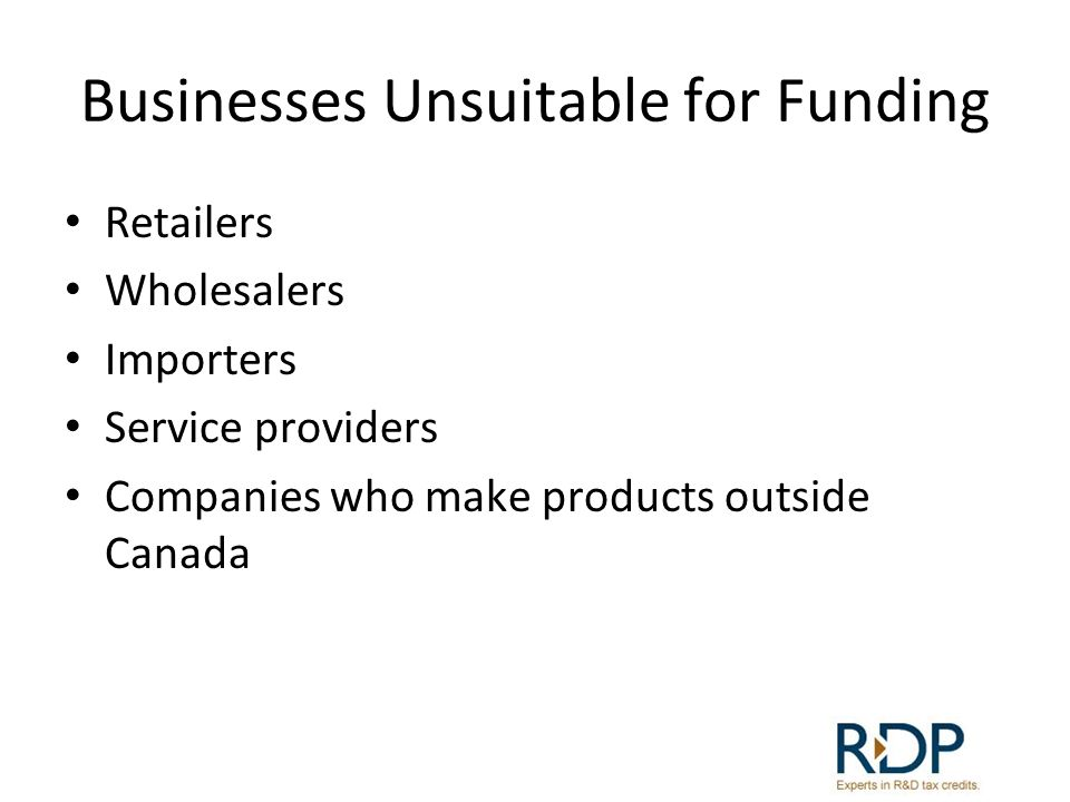 Businesses Unsuitable for Funding