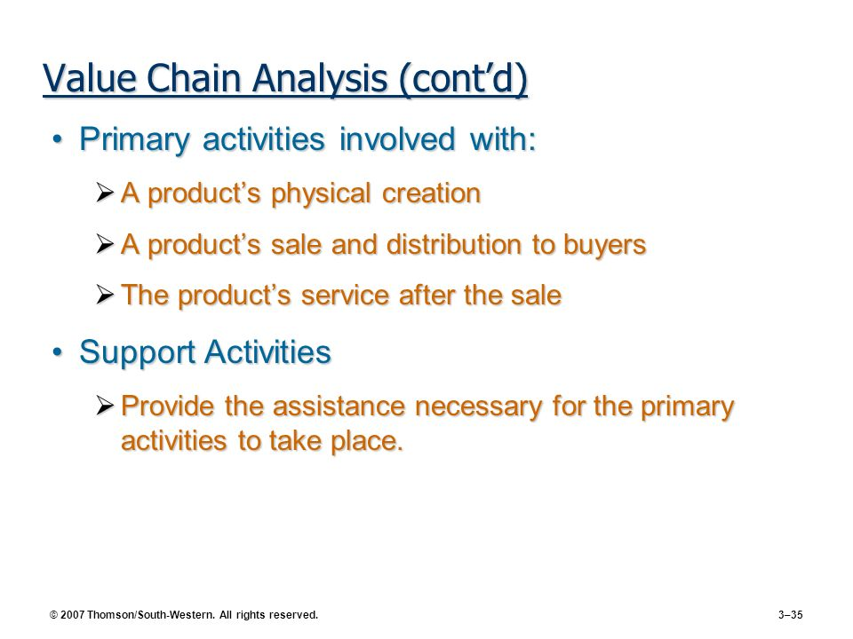 Value Chain Analysis (cont'd)