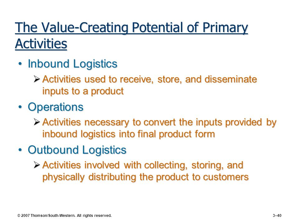 The Value-Creating Potential of Primary Activities