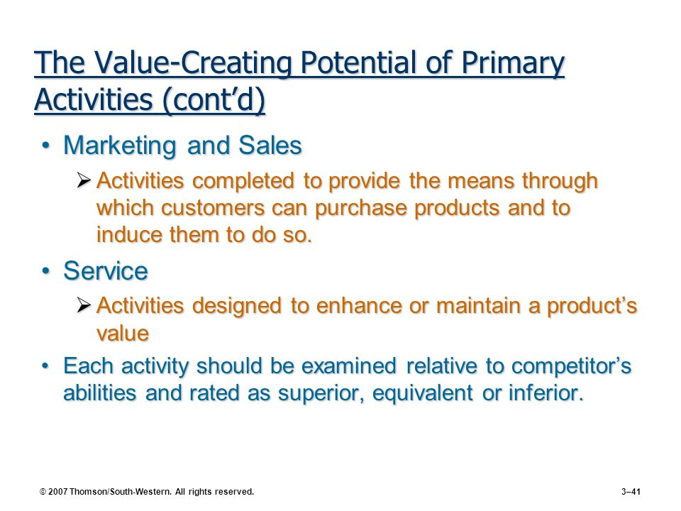 The Value-Creating Potential of Primary Activities (cont'd)