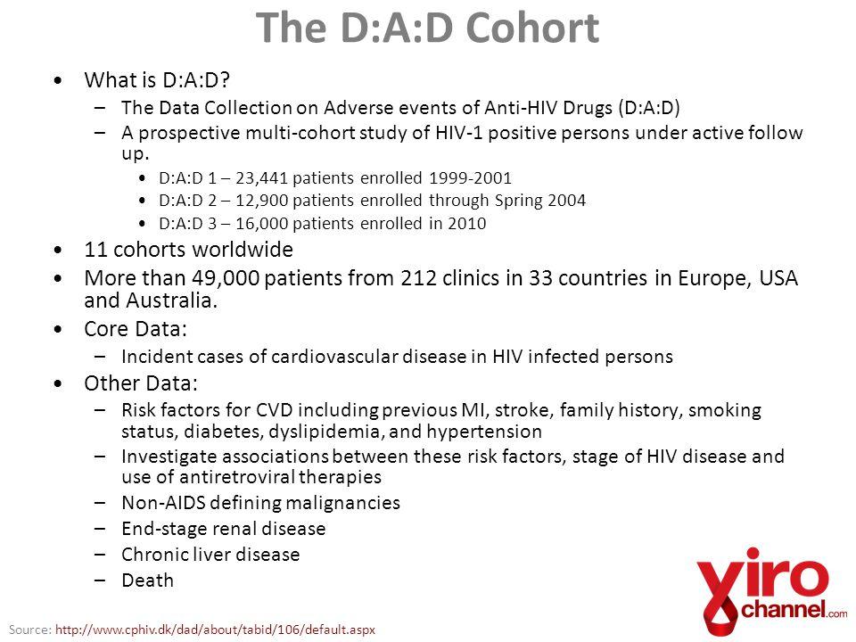The D:A:D Cohort What is D:A:D 11 cohorts worldwide