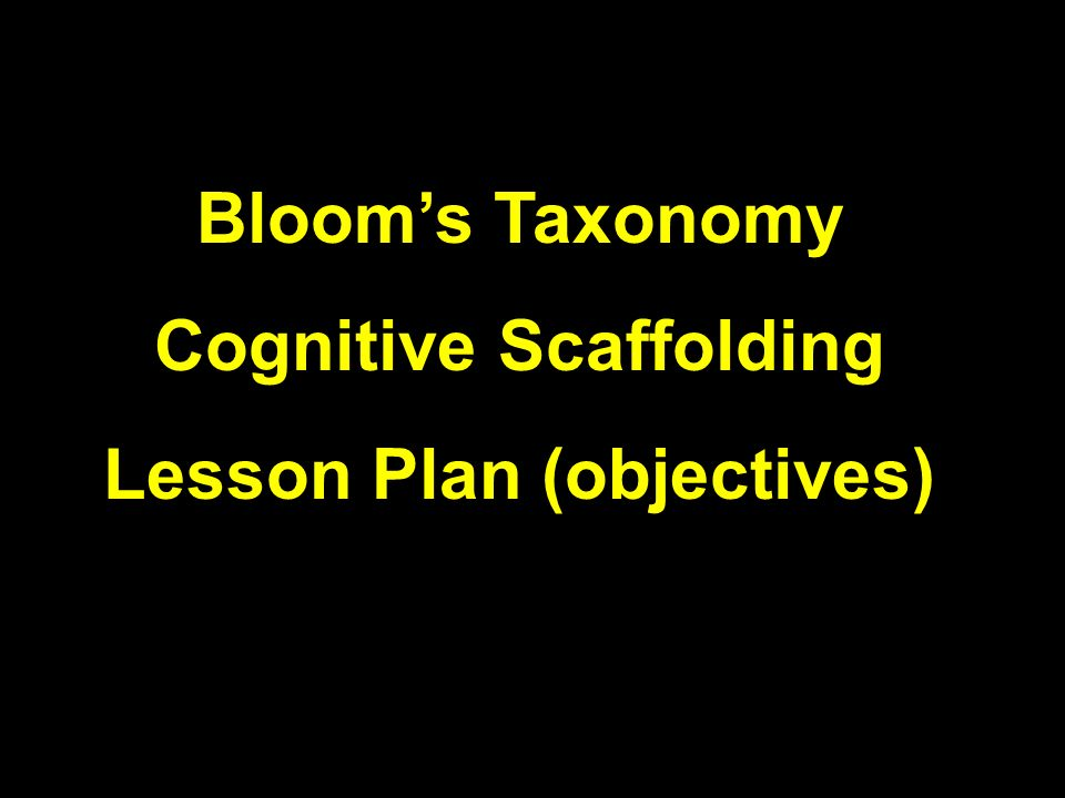 Cognitive Scaffolding Lesson Plan (objectives)