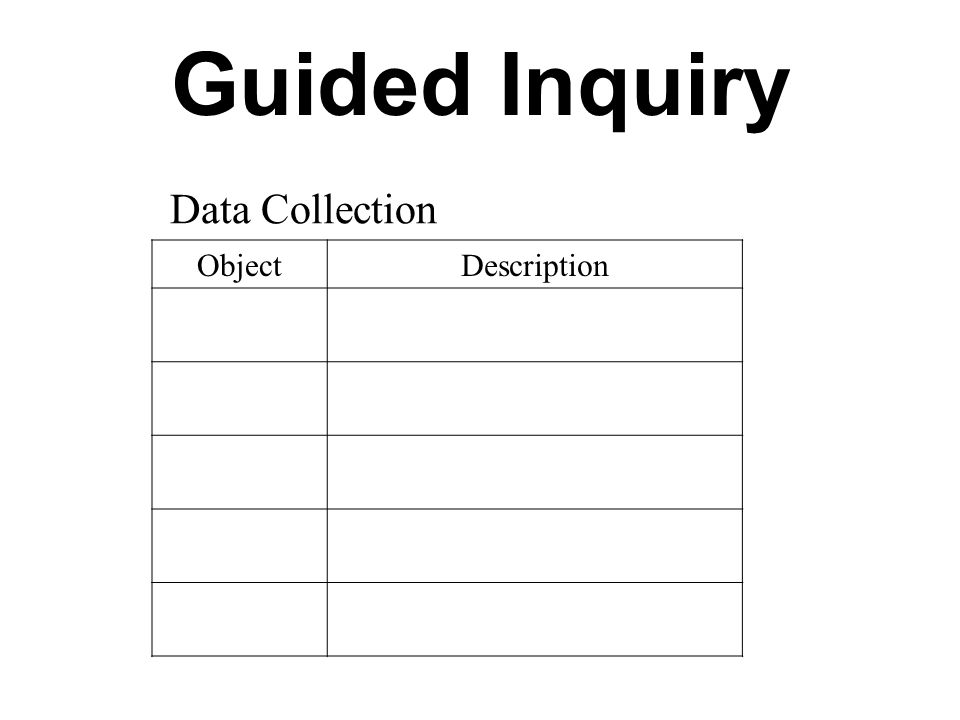 Guided Inquiry Data Collection Object Description