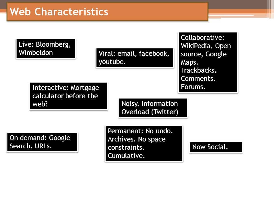 Web Characteristics Collaborative: WikiPedia, Open source, Google Maps. Trackbacks. Comments. Forums.