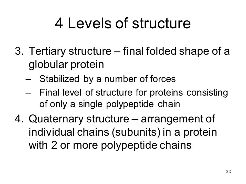 4 Levels of structure Tertiary structure – final folded shape of a globular protein. Stabilized by a number of forces.