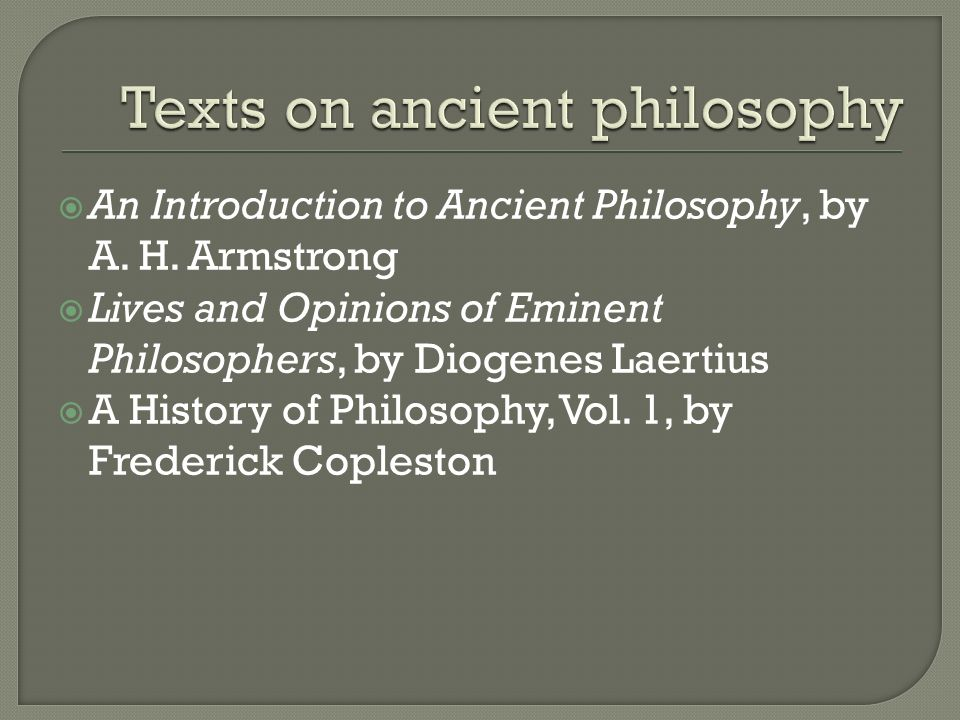 Texts on ancient philosophy