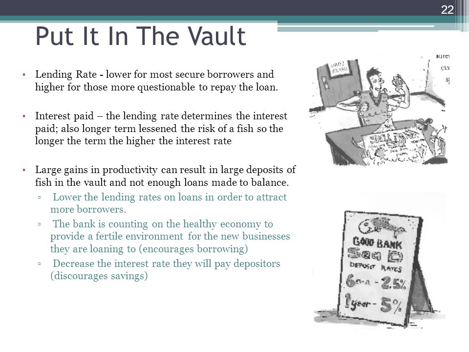 Put It In The Vault Lending Rate - lower for most secure borrowers and higher for those more questionable to repay the loan.