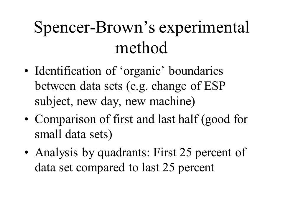 Spencer-Brown's experimental method