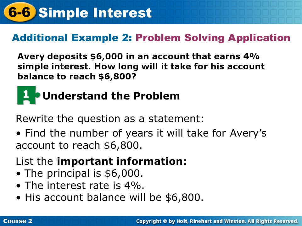 6 6 Simple Interest Course Ppt Video Online Download