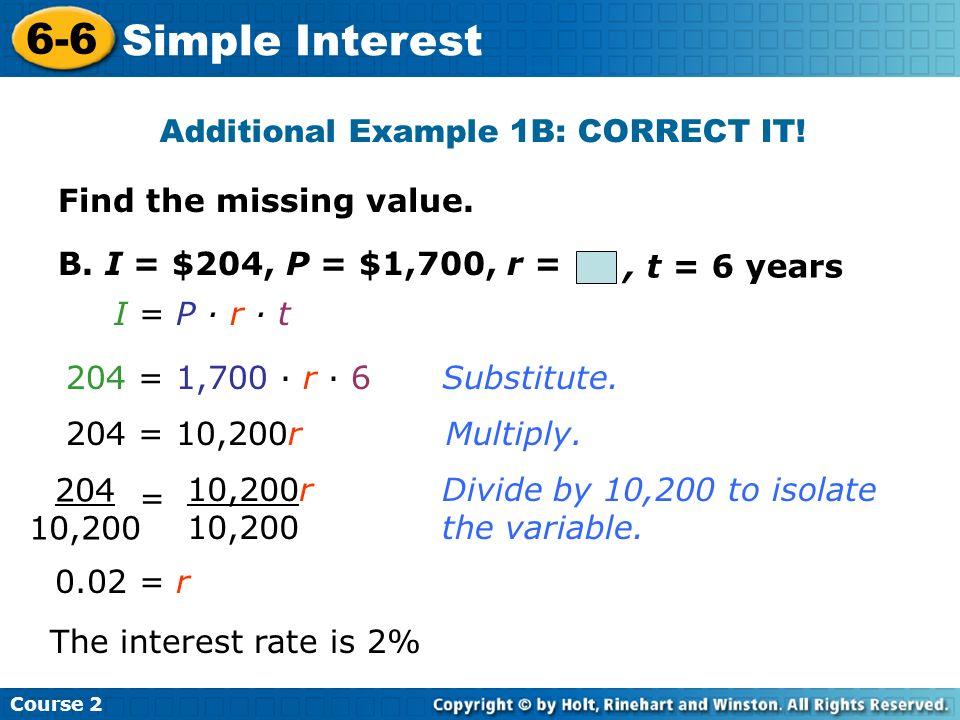 Additional Example 1B: CORRECT IT!