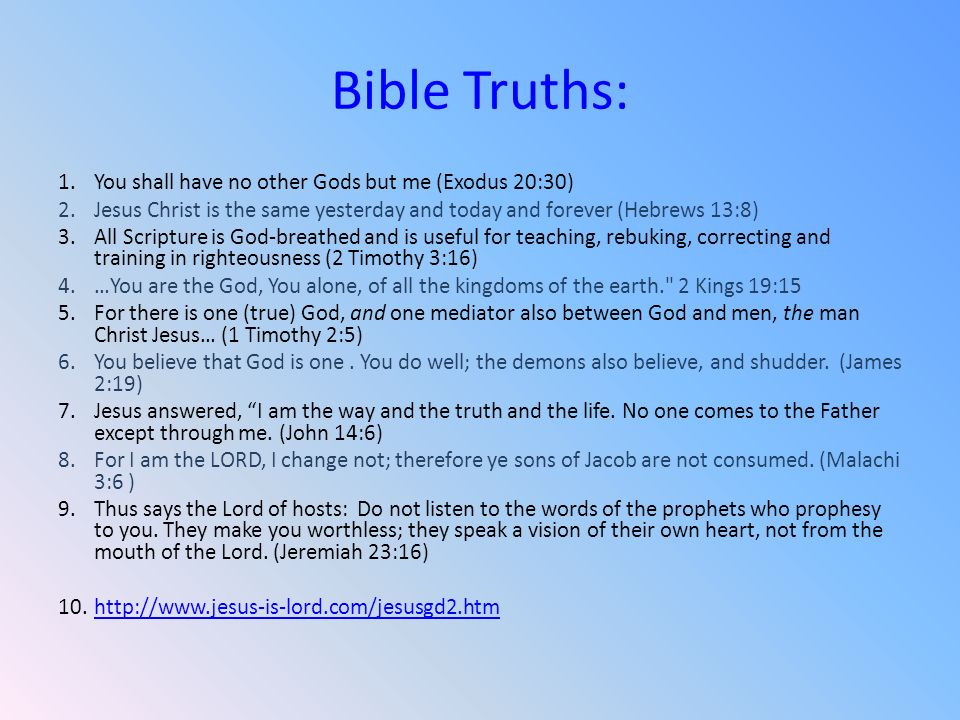 Bible Truths: You shall have no other Gods but me (Exodus 20:30)