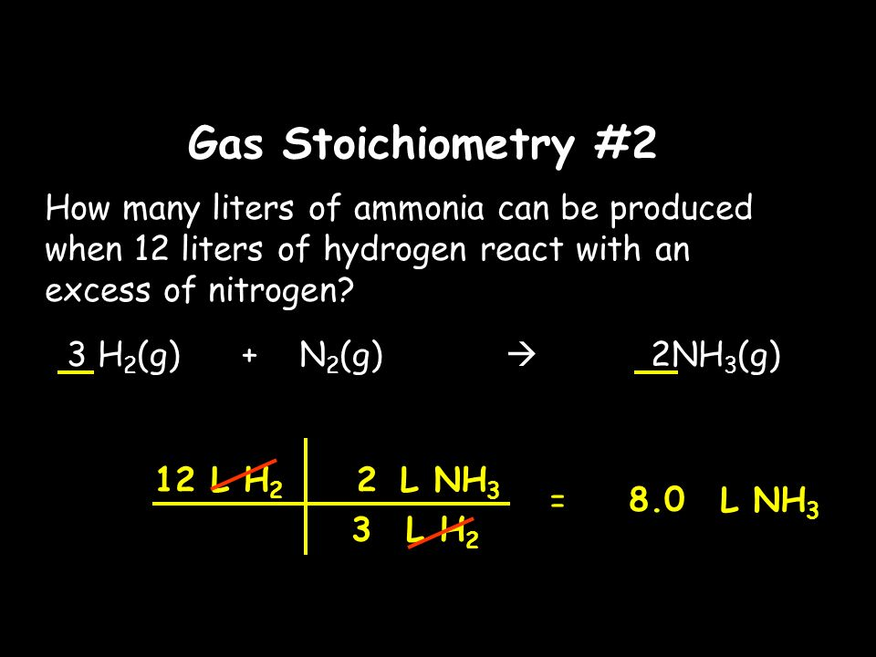 Gas Stoichiometry #2 How many liters of ammonia can be produced when 12 liters of hydrogen react with an excess of nitrogen