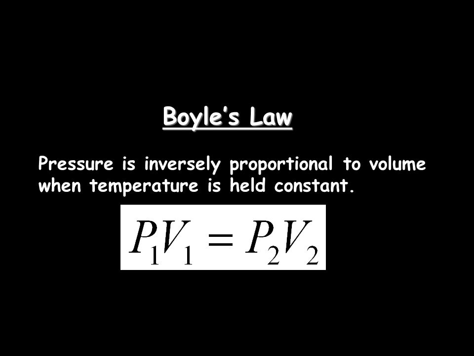 Boyle's Law Pressure is inversely proportional to volume