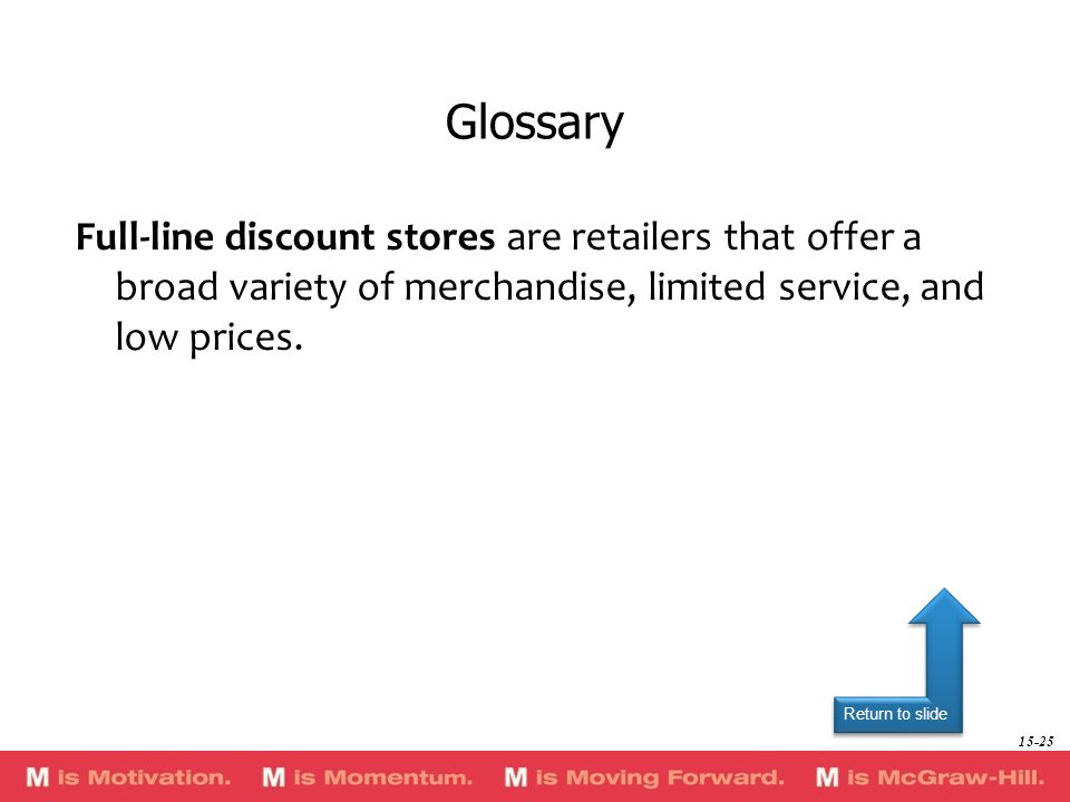 GlossaryFull-line discount stores are retailers that offer a broad variety of merchandise, limited service, and low prices.