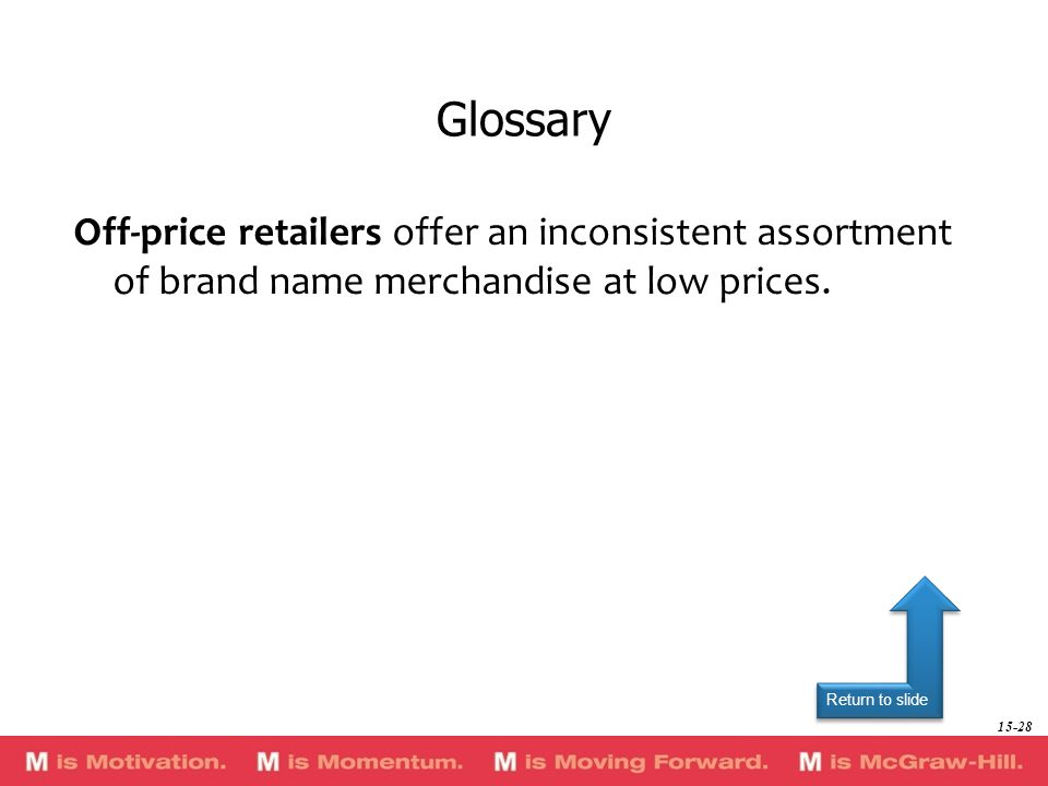 Glossary Off-price retailers offer an inconsistent assortment of brand name merchandise at low prices.