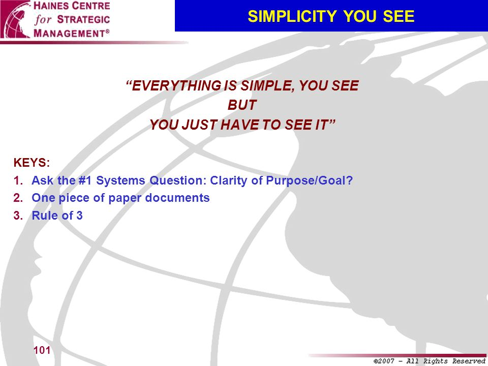 EVERYTHING IS SIMPLE, YOU SEE