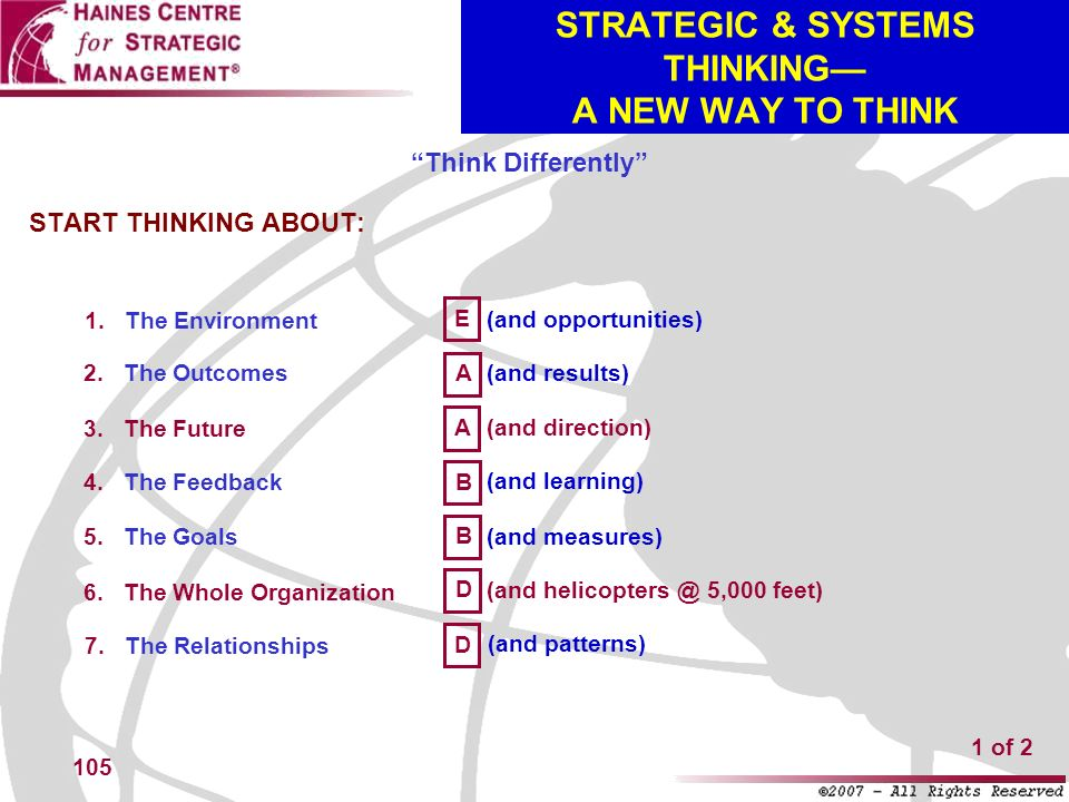 STRATEGIC & SYSTEMS THINKING— A NEW WAY TO THINK