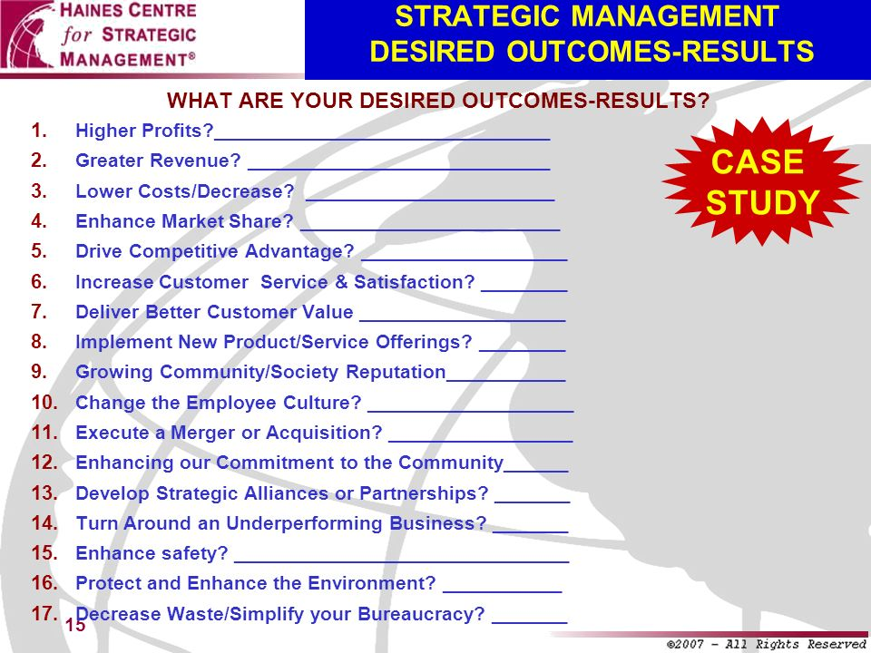 STRATEGIC MANAGEMENT DESIRED OUTCOMES-RESULTS