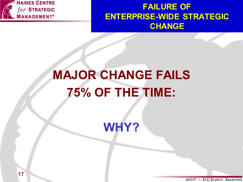 FAILURE OF ENTERPRISE-WIDE STRATEGIC CHANGE