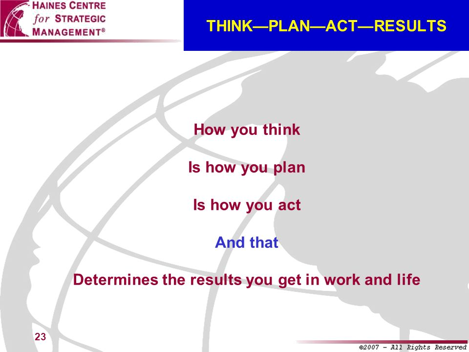 THINK—PLAN—ACT—RESULTS