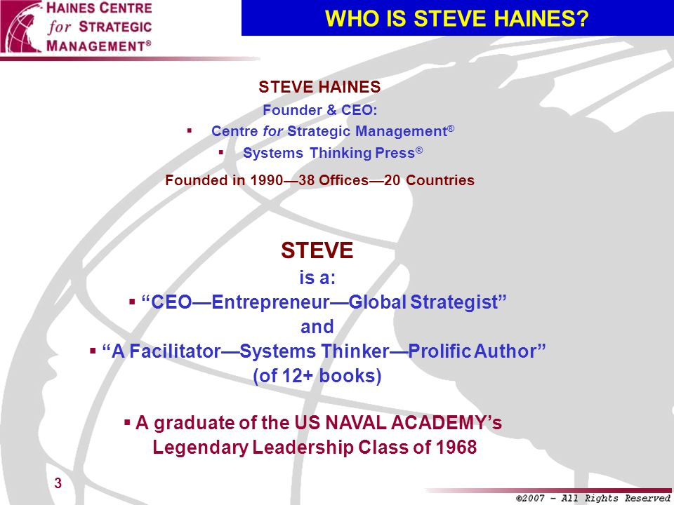 WHO IS STEVE HAINES STEVE