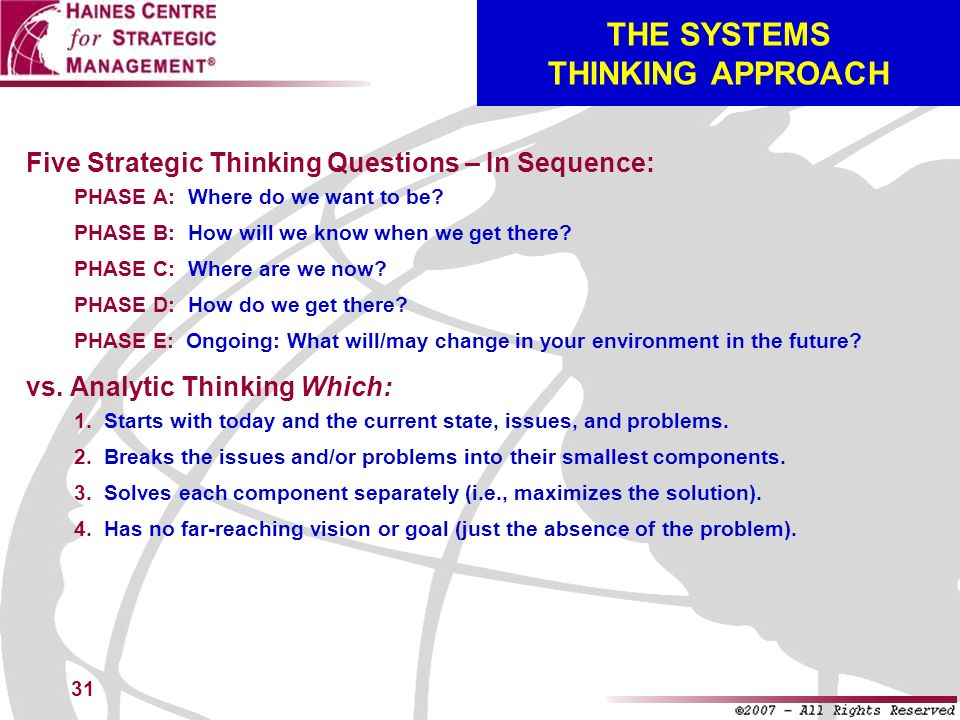 THE SYSTEMS THINKING APPROACH
