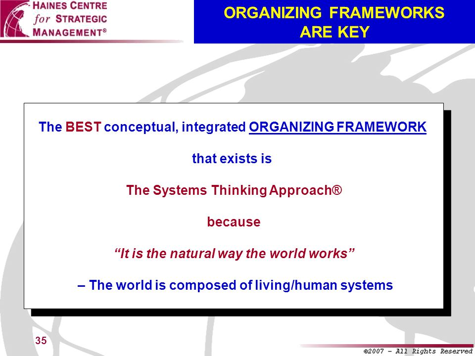 ORGANIZING FRAMEWORKS ARE KEY