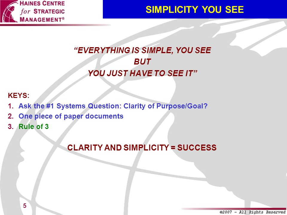 EVERYTHING IS SIMPLE, YOU SEE CLARITY AND SIMPLICITY = SUCCESS