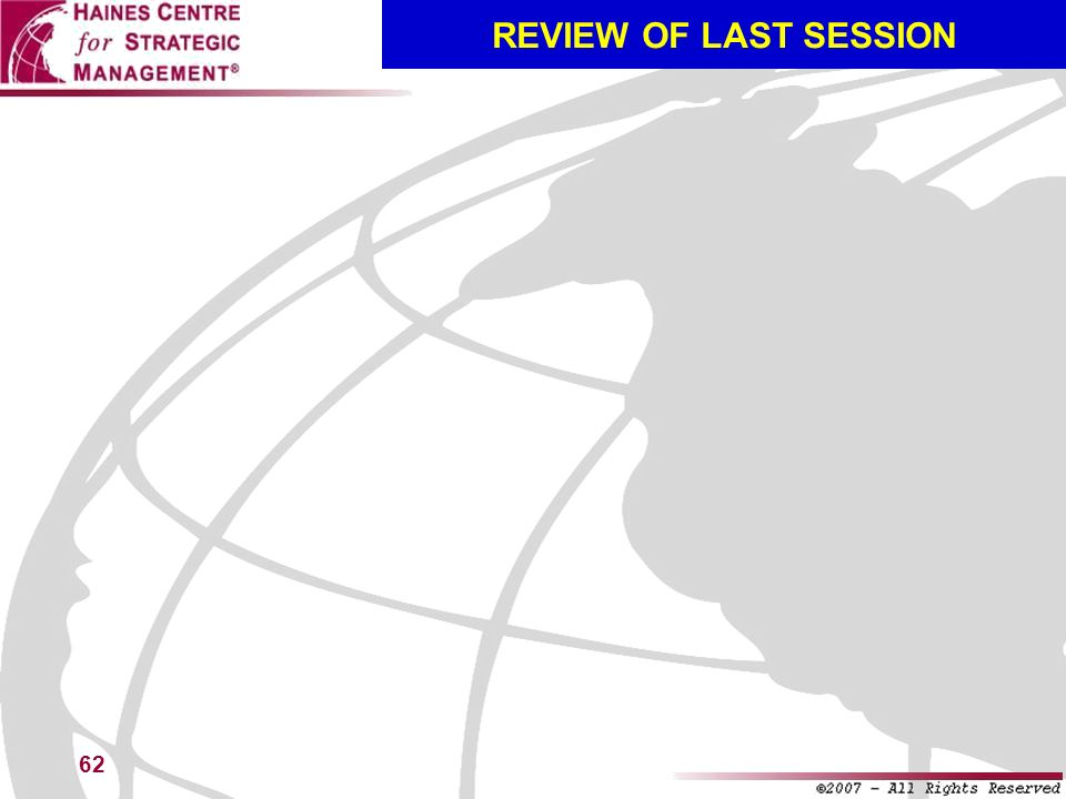 REVIEW OF LAST SESSION