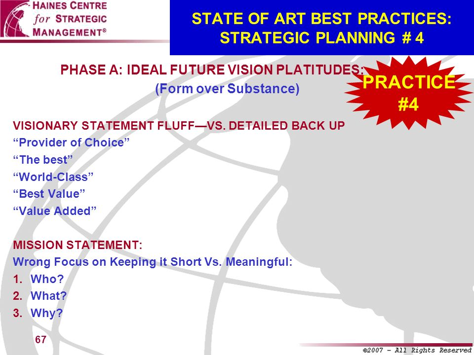 STATE OF ART BEST PRACTICES: STRATEGIC PLANNING # 4