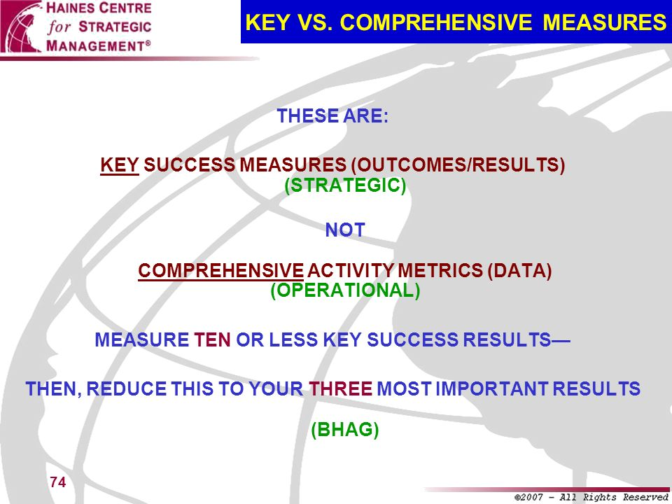 KEY VS. COMPREHENSIVE MEASURES