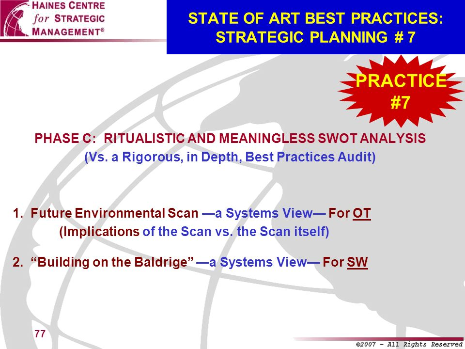 STATE OF ART BEST PRACTICES: STRATEGIC PLANNING # 7