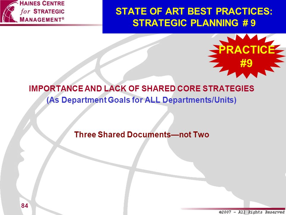 STATE OF ART BEST PRACTICES: STRATEGIC PLANNING # 9