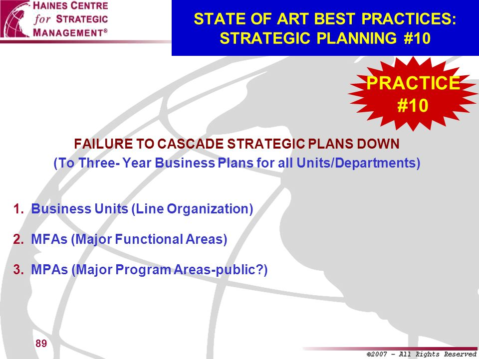 STATE OF ART BEST PRACTICES: STRATEGIC PLANNING #10