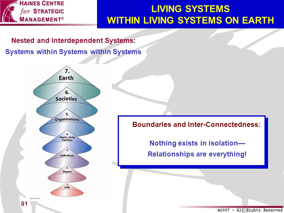 LIVING SYSTEMS WITHIN LIVING SYSTEMS ON EARTH
