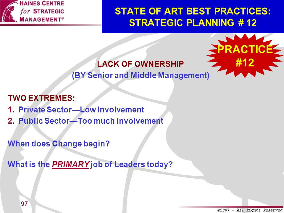 STATE OF ART BEST PRACTICES: STRATEGIC PLANNING # 12