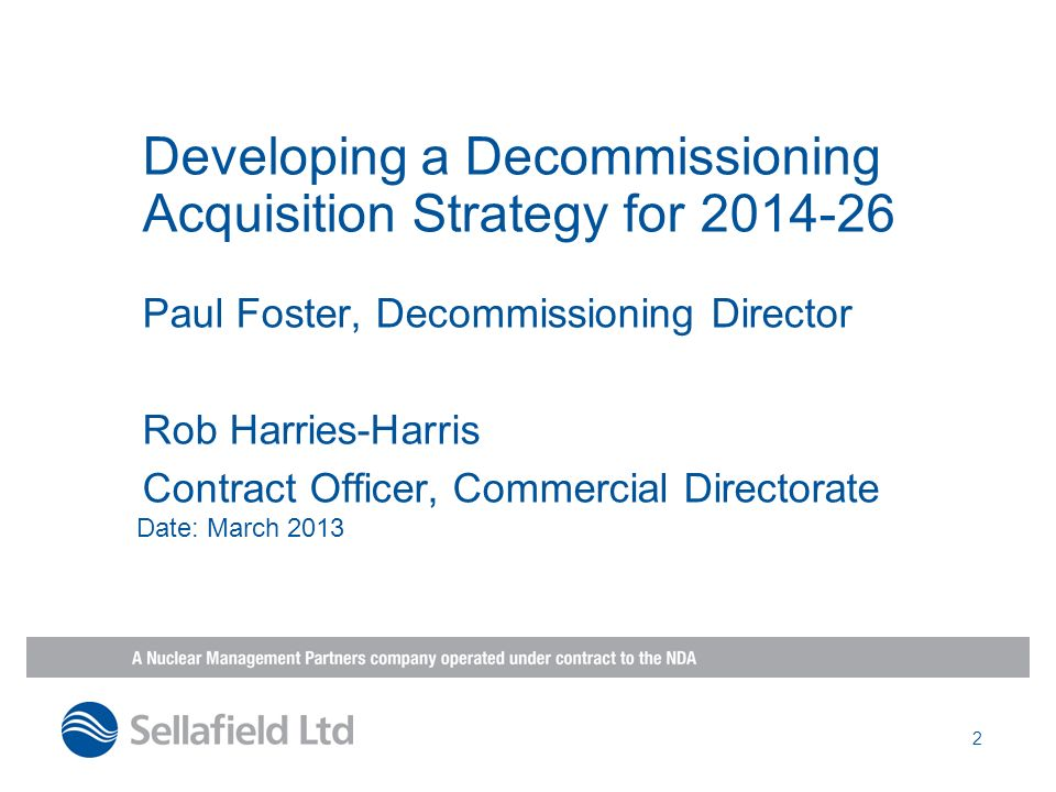 Developing a Decommissioning Acquisition Strategy for 2014-26