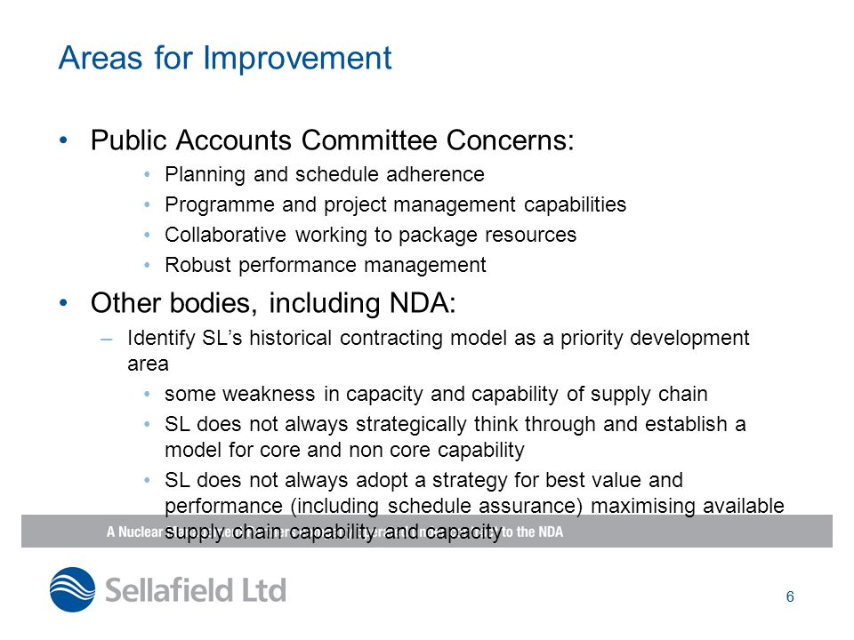 Areas for Improvement Public Accounts Committee Concerns: