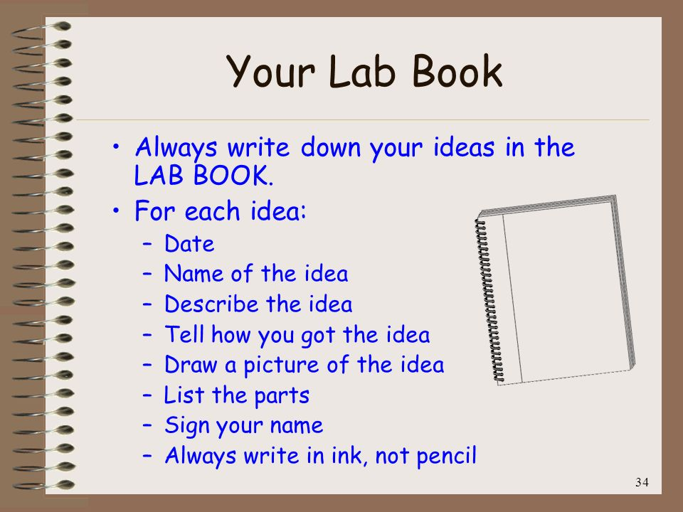 Your Lab Book Always write down your ideas in the LAB BOOK.
