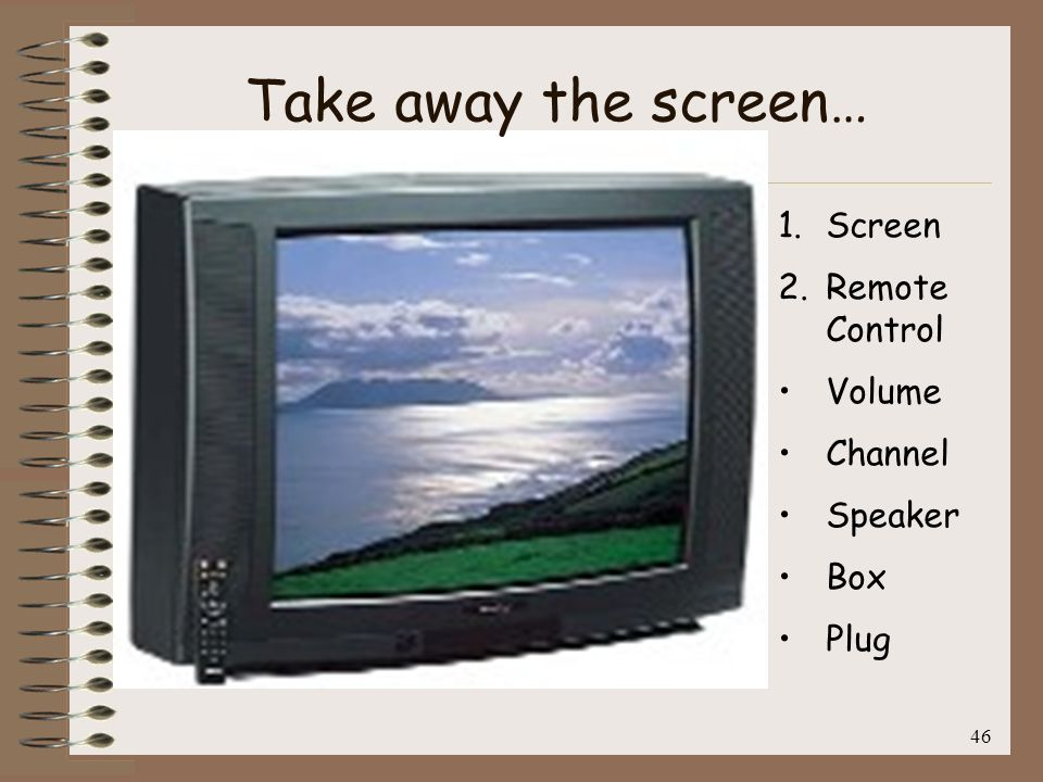 Take away the screen… Screen Remote Control Volume Channel Speaker Box