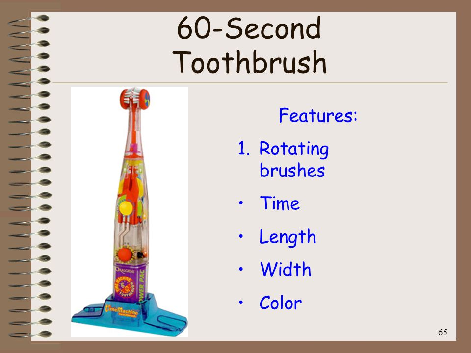 60-Second Toothbrush Features: Rotating brushes Time Length Width