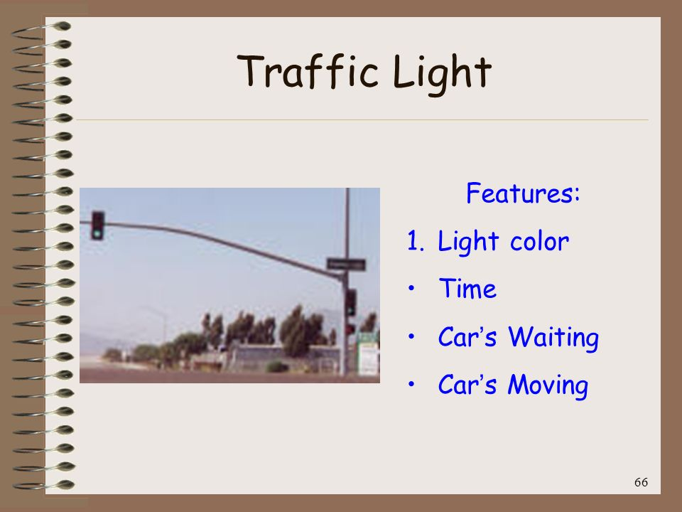 Traffic Light Features: Light color Time Car's Waiting Car's Moving 66