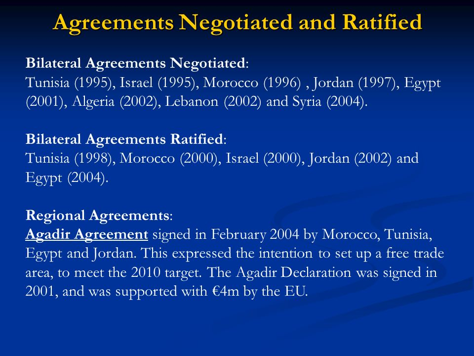 Agreements Negotiated and Ratified