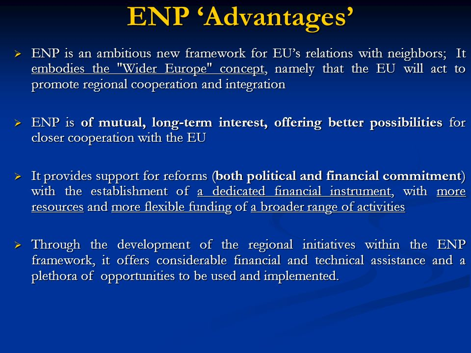 ENP 'Advantages'