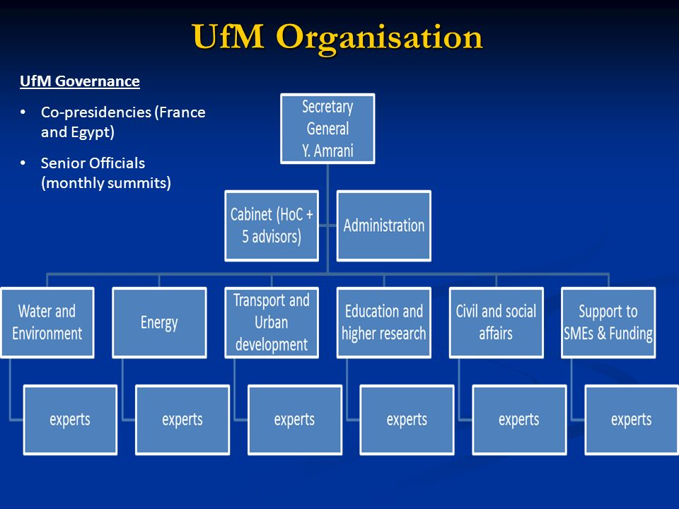 UfM Organisation UfM Governance Co-presidencies (France and Egypt)