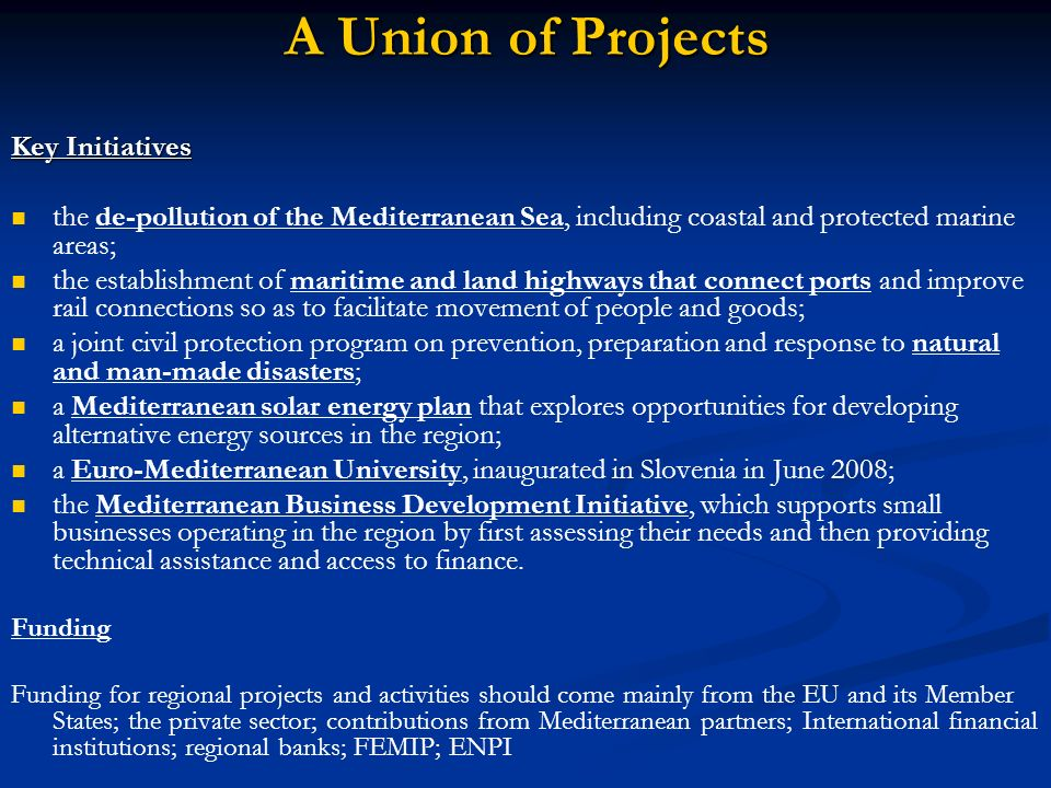 A Union of Projects Key Initiatives