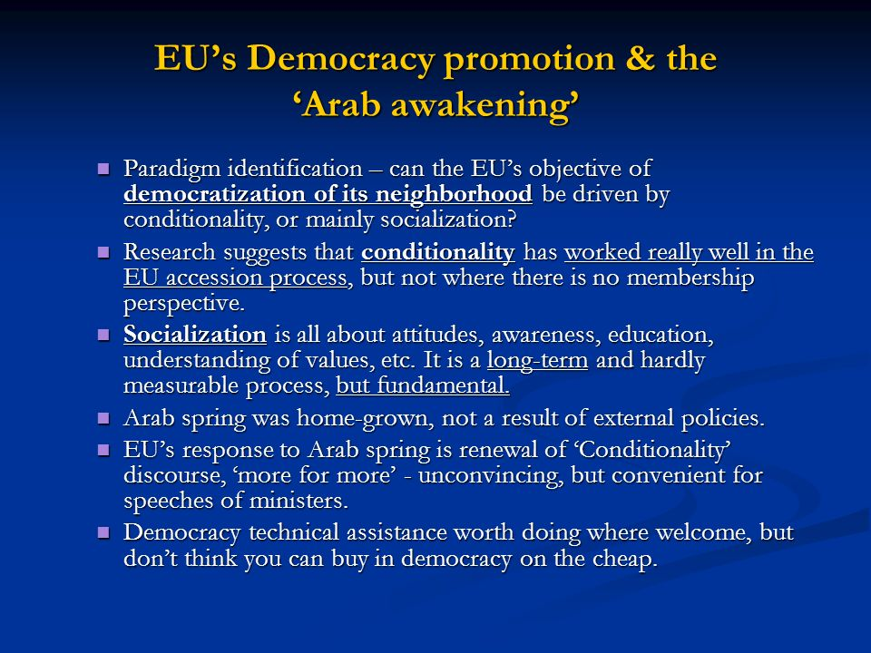 EU's Democracy promotion & the 'Arab awakening'