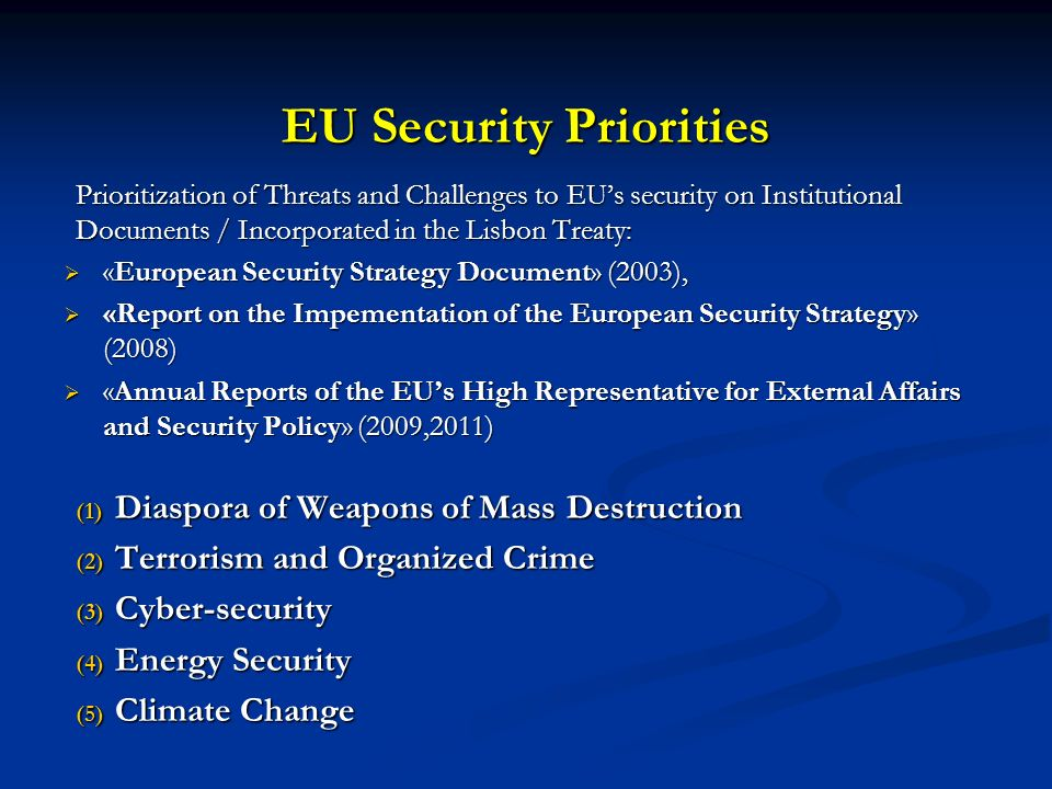 EU Security Priorities