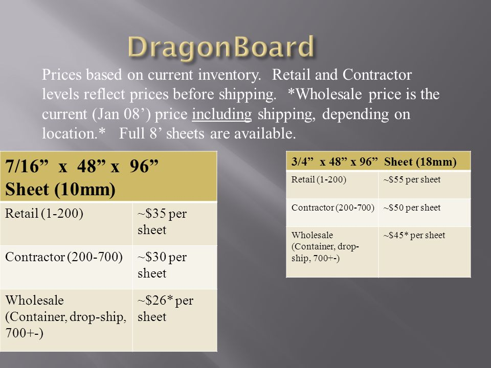 DragonBoard 7/16 x 48 x 96 Sheet (10mm)